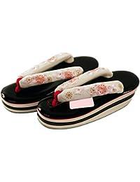 【さらさ】 振袖用 桜?梅刺繍入り かかと高 草履 三枚芯 フリーサイズ zr-785