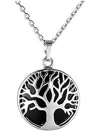 Jovivi Mak ペンダント ネックレス シルバー生命の樹 円形石 アメジスト 合金 チェーン が付き ギフトケースやバッグを提供 (オブシディアン)