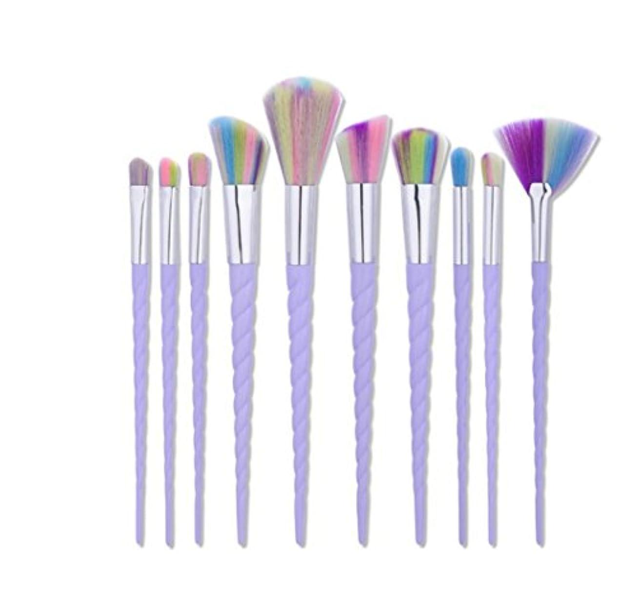 秋値写真Dilla Beauty 10本セットユニコーンデザインプラスチックハンドル形状メイクブラシセット合成毛ファンデーションブラシアイシャドーブラッシャー美容ツール (ホワイト-4)