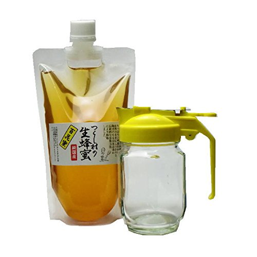 純粋国産蜂蜜 つくし村の生蜂蜜 百花蜜450gスタンドパック+ハニーディスペンサー