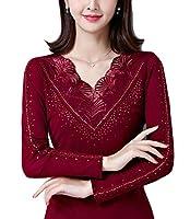 chenshiba-JP レディースファッションVネックレーストリムロングスリーブブラウスTシャツトップス Wine Red S