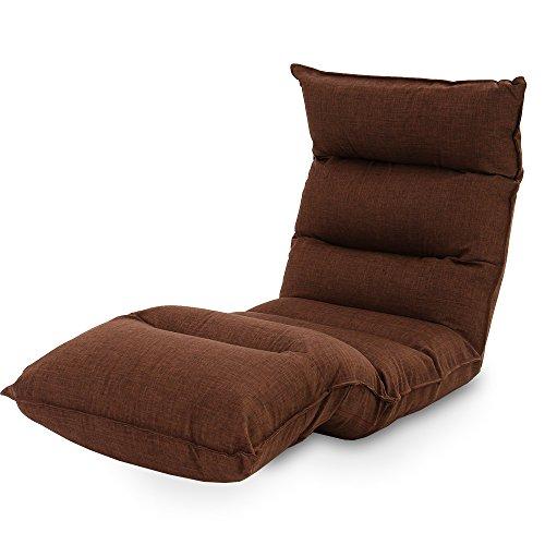 LOWYA (ロウヤ) 座椅子 長座椅子 低反発 リクライニング ラージサイズ 42段ギア ソファ生地 ブラウン おしゃれ 新生活