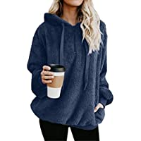 Asskdan Women's Teddy Fleece Long Sleeve Fuzzy Hoodie Hooded Sweatshirt Drawstring Pullover Fuzzy Velvet Sweater Outwear