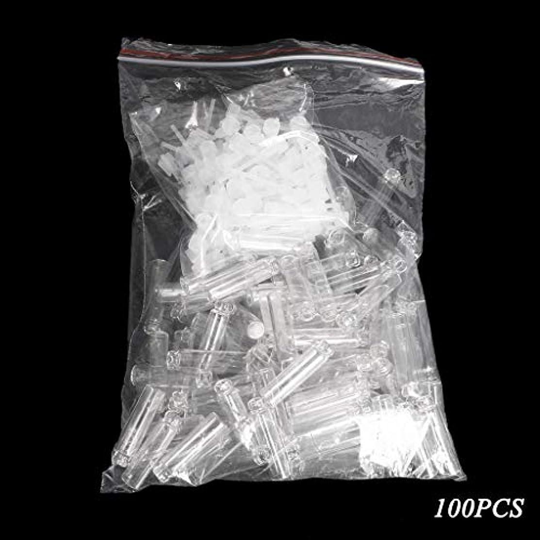連結する面倒バーガーDabixx 100個/ロットの小型化粧品の香水の精油のサンプルガラスビンの容器 - 透明(1ml) - 100個