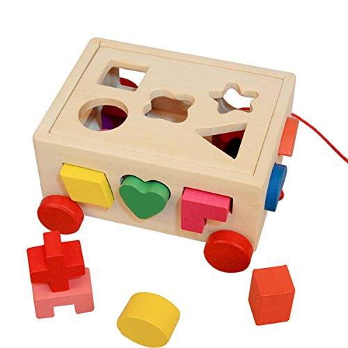 (エフィニスト)Affinest お盆休み ギフト 知育玩具 立体パズル パズルボックス ラーニングトイ ドロップインザボックス 木のオモチャ 積み木 カラフルブロック (15ピース)