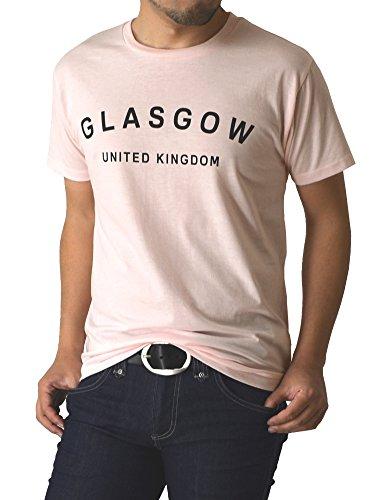 (リミテッドセレクト) LIMITED SELECT P2 Tシャツ 半袖 メンズ カットソー プリント Vネック クルー アメカジ ロゴ ミリタリー RQ0729 L D-3 ピンク
