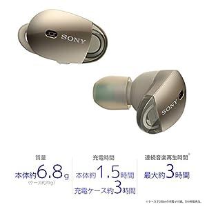 ソニー SONY 完全ワイヤレスノイズキャンセリングイヤホン WF-1000X : Bluetooth対応 左右分離型 マイク付き 2017年モデル シャンパンゴールド WF-1000X N