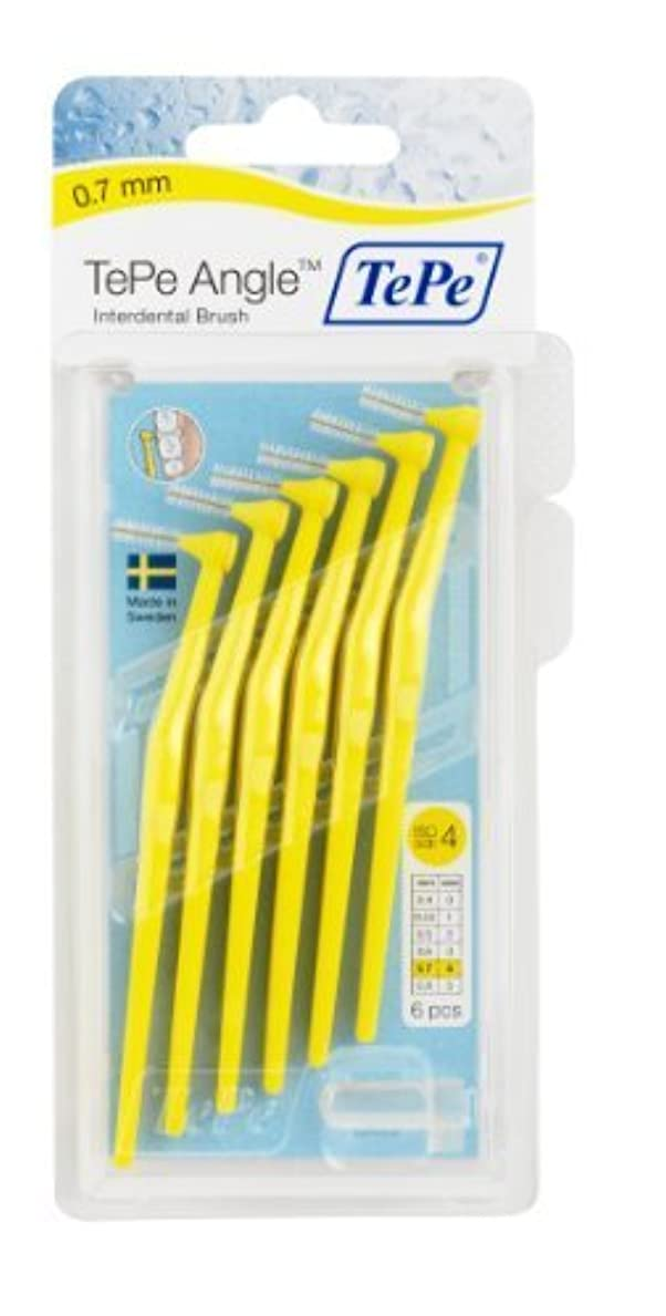 出版相続人特殊TePe Interdental Brush Angle - Yellow 0.7mm by TePe Munhygienprodukter AB, Sweden [並行輸入品]