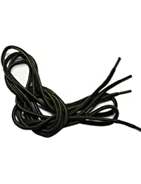 (クツヒモドットコム)靴ひも.com ワークブーツ用靴紐・緑×黒(約4mm) 110cm・120cm・130cm・140cm
