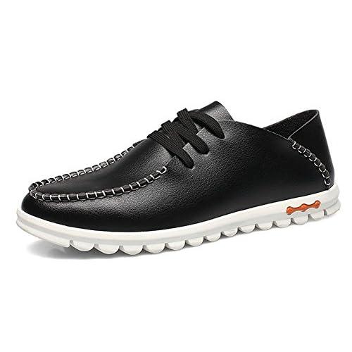 ワンース (Wansi) メンズ 革靴 空気を通す シューズ カジュアル ブリティッシュ 大ヤード 靴 ブラック 26.5
