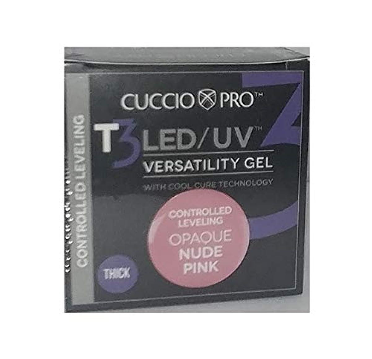 ヒップ霧深い肩をすくめるCuccio Pro - T3 LED/UV Gel - Controlled Leveling - Opaque Nude Pink - 1 oz / 28 g
