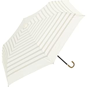 because(ビコーズ) 折りたたみ傘 手開き 日傘/晴雨兼用傘 遮光 ボーダー 全3色 ホワイト 6本骨 47cm UVカット 95%以上 軽量 BE-09714