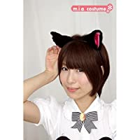 フワフワ猫耳カチューシャ単品 横耳 色:黒/ピンク サイズ:フリー