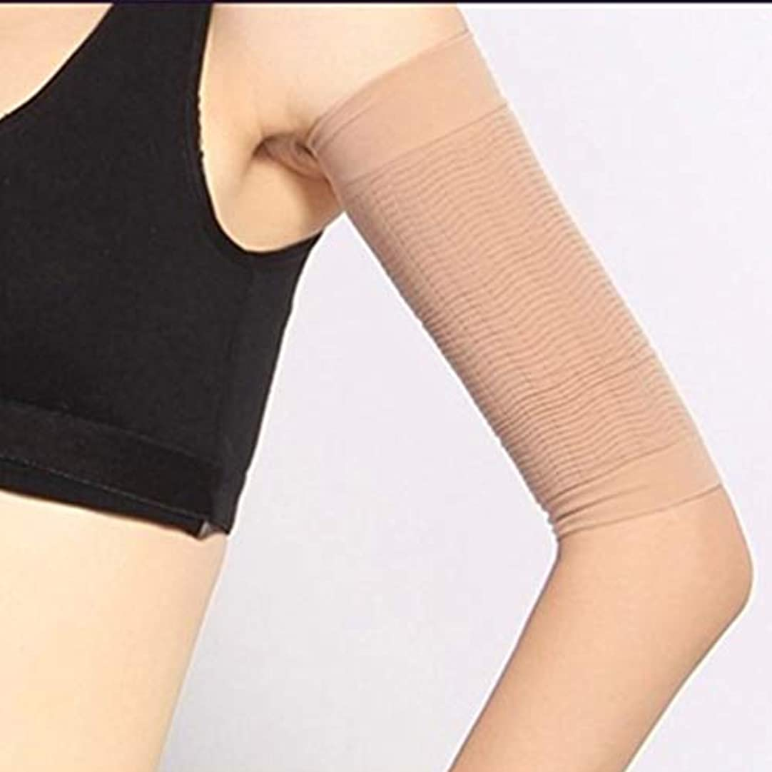 ラケット免除する争い1ペア420 D圧縮痩身アームスリーブワークアウトトーニングバーンセルライトシェイパー脂肪燃焼袖用女性 - 肌色