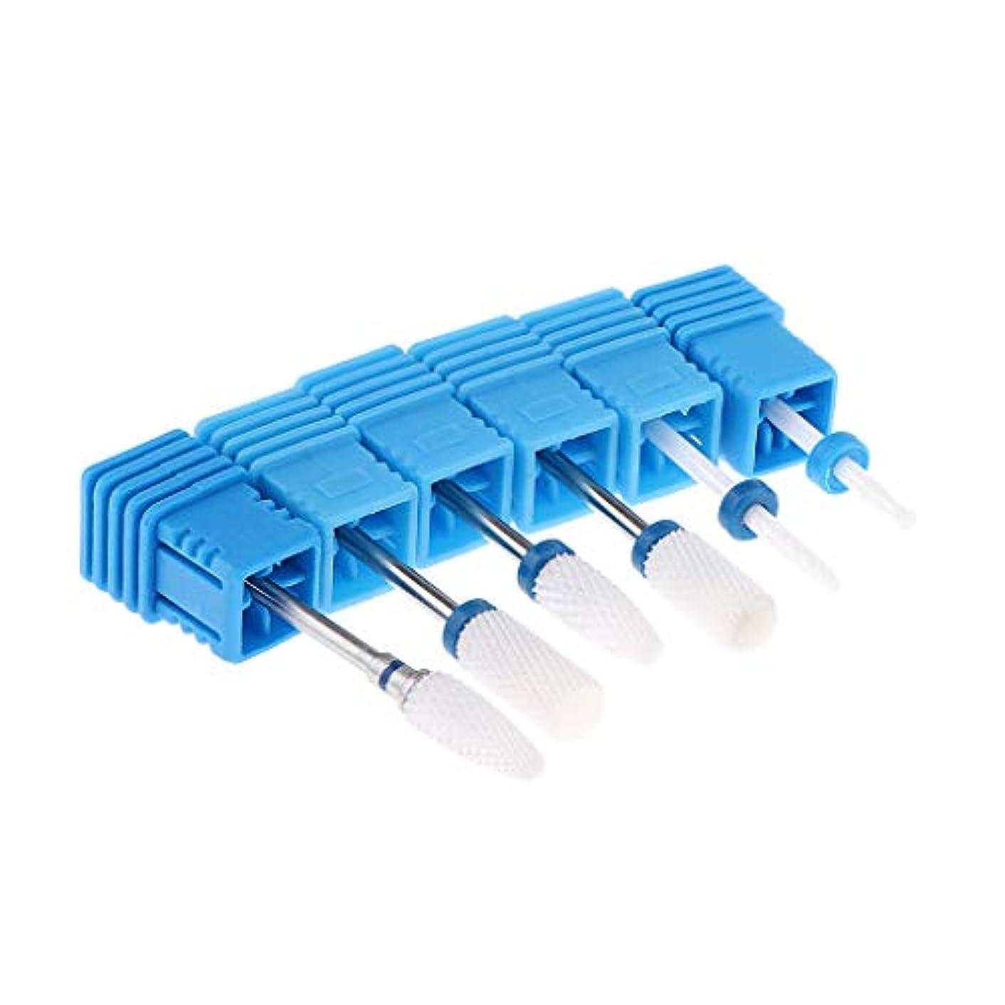 パックの6ピースキューティクルクリーンネイルドリルビットセットロータリー研削ヘッドネイルファイルビット用ネイルアート電動マニキュア機アクセサリー