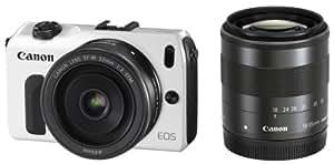 Canon ミラーレス一眼カメラ EOS M ダブルレンズキット EF-M18-55mm F3.5-5.6 IS STM/EF-M22mm F2 STM付属 ホワイト EOSMWH-WLK