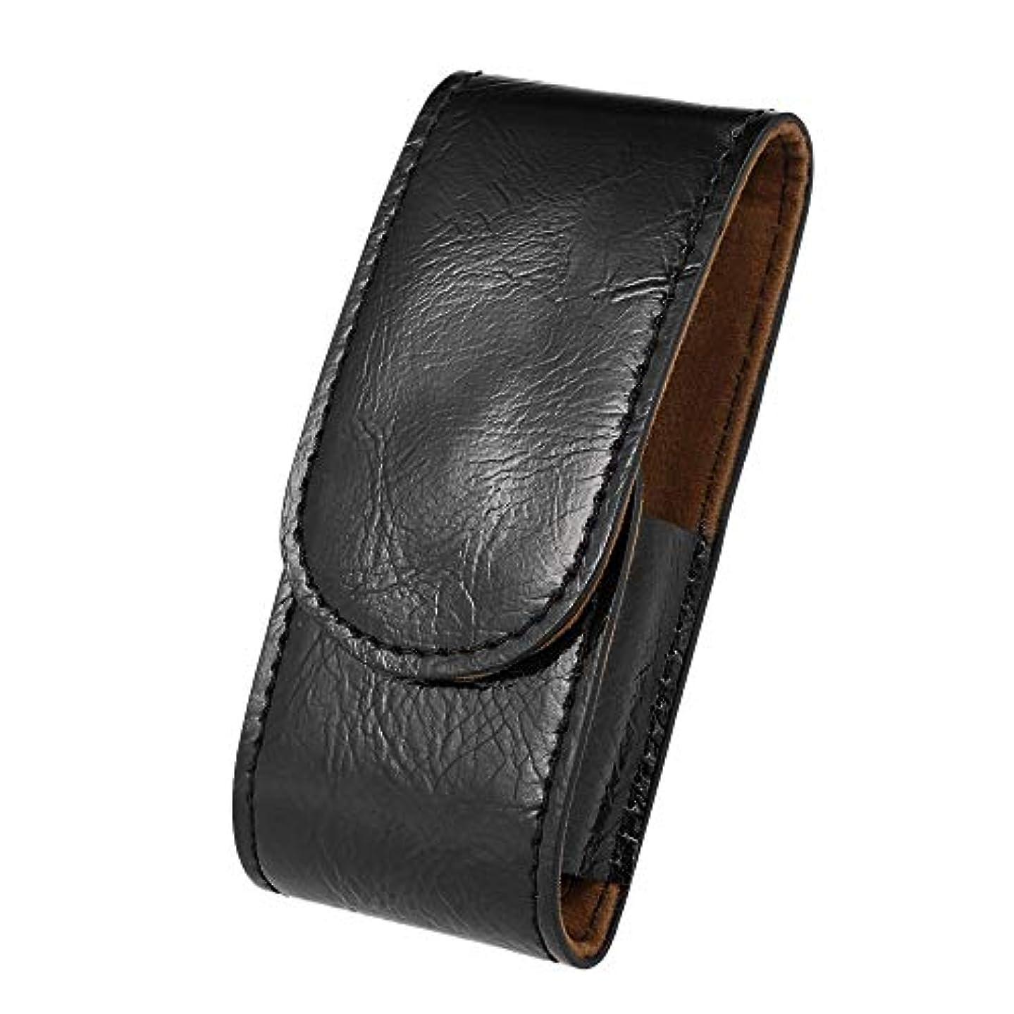 一元化する民兵ファランクスMen PU Leather Razor Pouch Shave Beard Shaver Handbag Pouch Safety Razor Case Storage Bag Double Edge Razor Holder