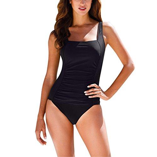 Wodery水着女性レディース競泳水着スリムウエアワンピースバックレス水陸両用体型カバーセパレートめくれ防止UVカットフィットネス水着レディース大きいサイズ(ポルカドット/�K/ブルーMー3XL)