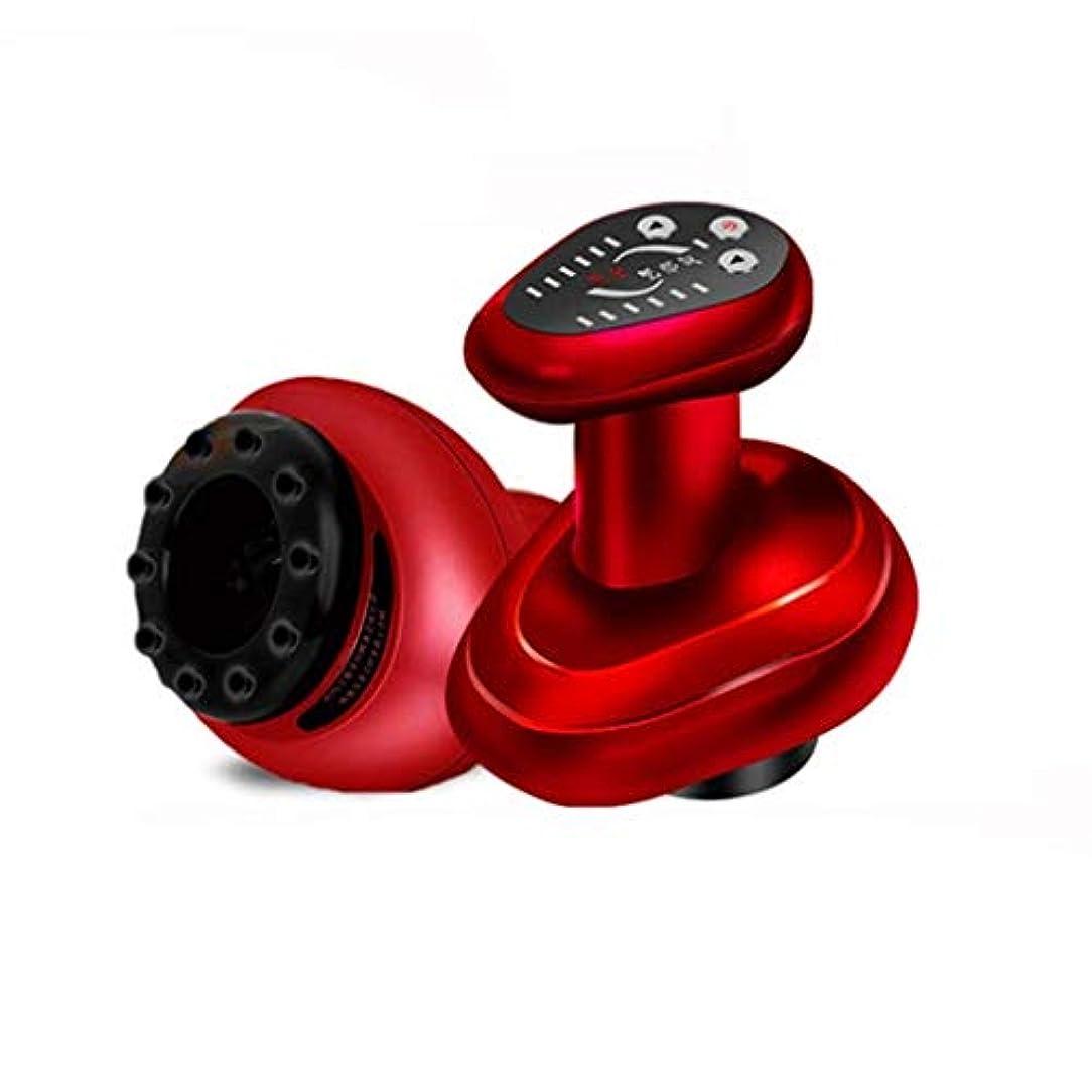スクレーピング装置、電動スクレーピングマッサージャー、USBバキュームカッピング鍼減量マッサージャースクレーピング器具温熱療法マッサージ、血液循環の促進、子午線マッサージ (Color : Red)