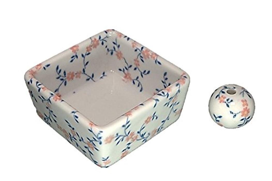 粒子航空機和モダン カントリーフラワー お香立て 陶器 角鉢 製造直売品