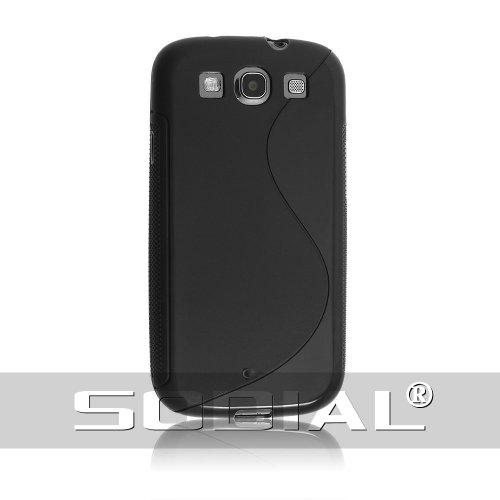 SODIAL(R) S形のフレキシブルTPUゲルケース Samsung Galaxy S3 S IIIの為 黒