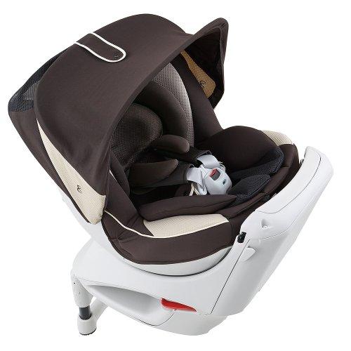 カーメイト エールベベ クルットNTプレミアム 新生児から4歳用チャイルドシート(サンシェード付360度回転型) ブラウンオレ