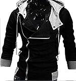 (アルファーフープ) α-HOOP メンズファッション アウター 襟 広め フード 付き 長袖 パーカー ジャケット M ~ XXL 大きいサイズ 大人 男性用 DP-1 (01.黒(.Mサイズ))…