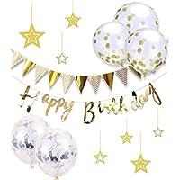 HAPPY BIRTHDAY 豪華 誕生日 飾り付け セット 風船 バースデー ガーランド デコレーション HAPPY BIRTHDAY きらきら風船 ゴールド(c-01)