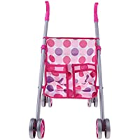 P Prettyia ピンク 人形ベッド おもちゃ ベイビー人形用 ハンドバッグ付き ドールハウス家具