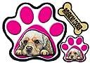 PAW犬ステッカー アメリカンコッカースパニエル2 足跡シール/ピンク