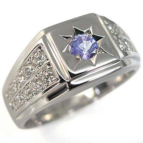 33bcdf38da87 印台 プラチナリング メンズリング 地金 メンズ指輪 タンザナイト リングサイズ20号 12月誕生石タンザナイトを一粒使用し、贅沢に地金とダイヤモンドを 使用した、 ...