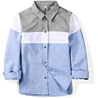 OCHENTA Boys' Long Sleeve Button Down Oxford Shirt, Little Big Kids Color Block Casual Dress Tops