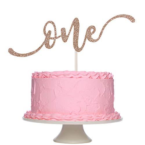 ローズゴールド キラキラ光るケーキトッパー 1歳の誕生日パーティーデコレーション 子供の誕生日パーティー用品