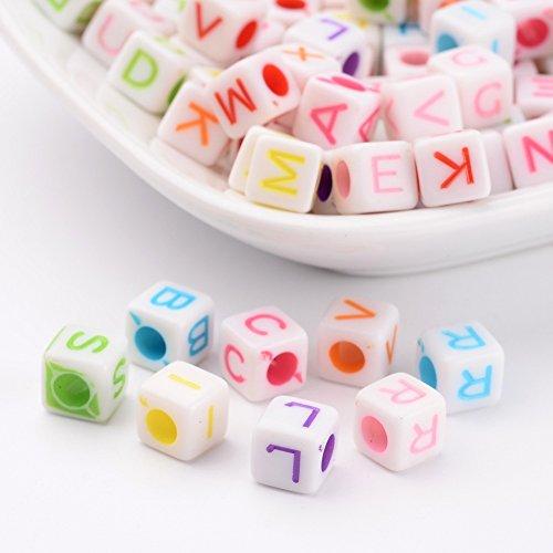 PandaHall ミックス 約100個セット 6.5mm アルファベット ビーズ キューブ形 可愛い カラフル A-Z 文字 混合色 アクリル ビーズ 手作り用品 DIY用 アクセサリーパーツ