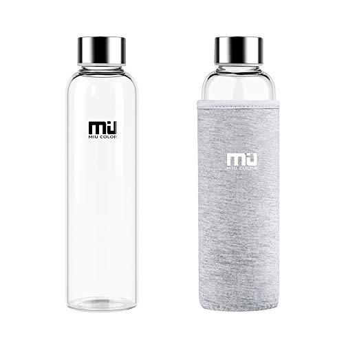 MIU COLOR 水筒 ボトル ガラス水筒 マグボトル 550ML 透明 おしゃれ カバー付き 運動会社各場所用(グレー)
