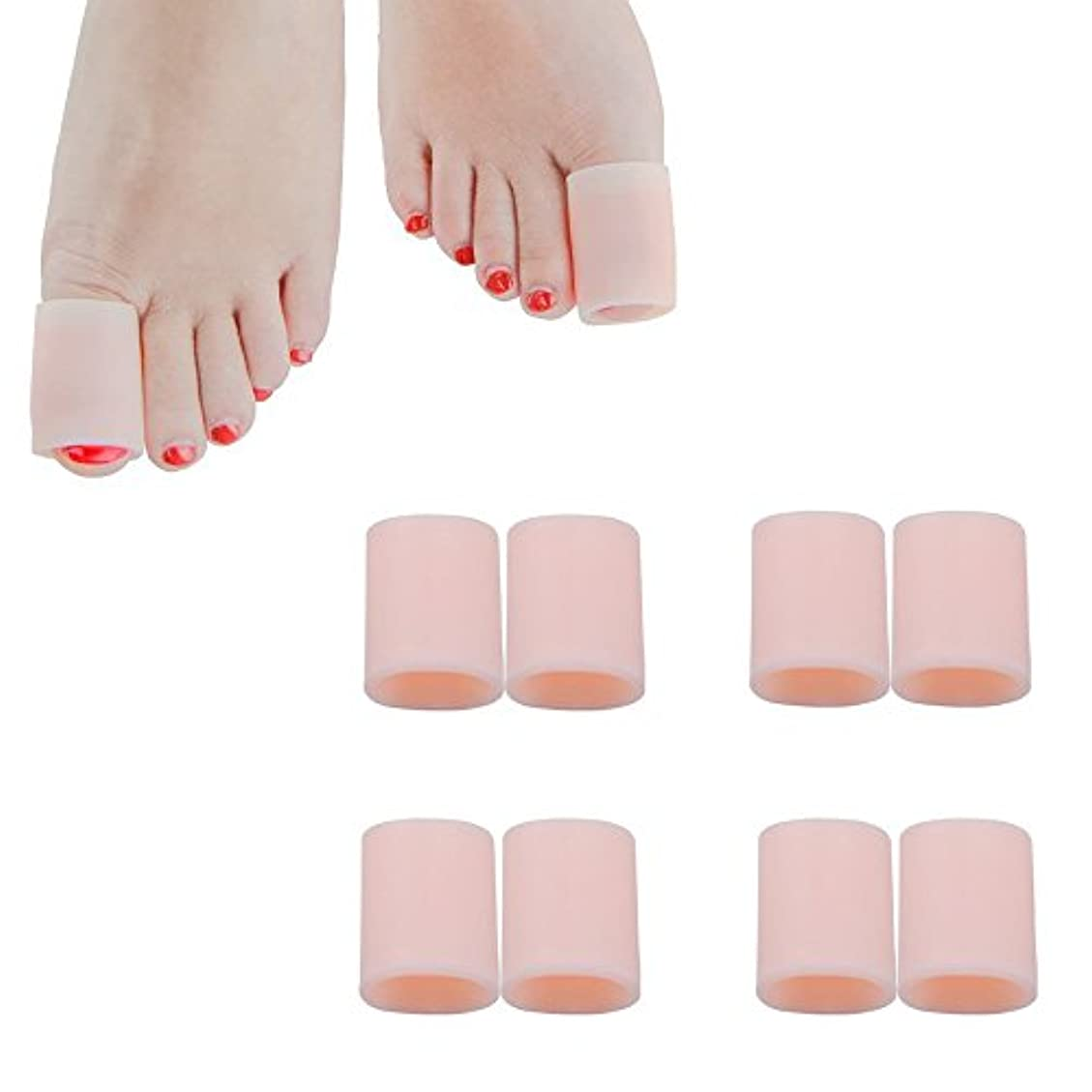 近所のフォーカス憎しみ足指保護キャップ つま先プロテクター 足先のつめ保護キャップ シリコン (肌の色, 4組の大きなゲル)