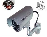 Trendmart (シルバー) アウトドア/インドアFakeダミーセキュリティカメラ赤点滅ライトLED