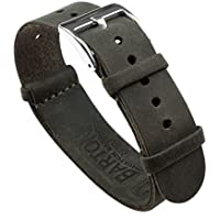 BARTON Watch Bands - Top Grain Leather NATO Style Watch Straps - Raw Edge Leather - Stainless Steel Buckle Choose Color, Length & Width - 18mm, 20mm, 22mm, 24mm Bands
