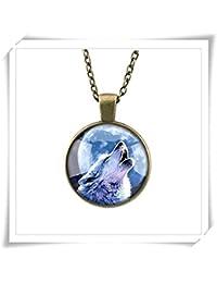 オオカミのネックレスの満月アートジュエリーペンダントジュエリーペンダントのオオカミのオオカミ。満月満月のネックレス