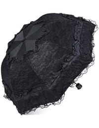 ブラックSweetレディース傘レース超軽量UV保護日焼け止め折り畳み傘