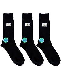 日本製靴下 綿麻 消臭ビジネス ソックス 黒 3足セット 24-27cm