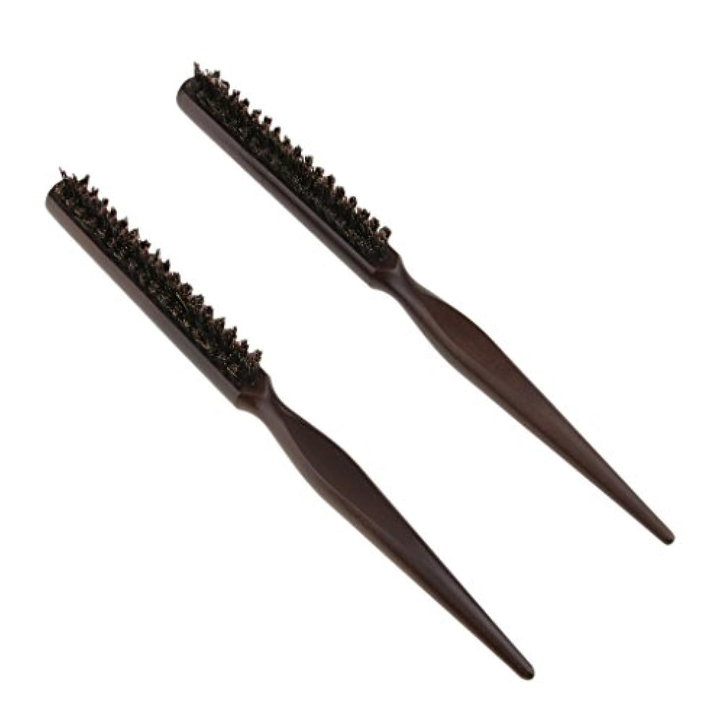 民主党静けさなくなる2本3行木材自然の剛毛のおしゃぶりブラシの後ろのブラシのブラシ24センチメートル
