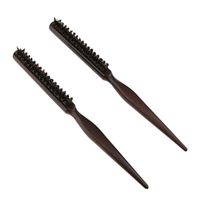 感性賠償軽減DYNWAVE 2本3行木材自然の剛毛のおしゃぶりブラシの後ろのブラシのブラシ24センチメートル