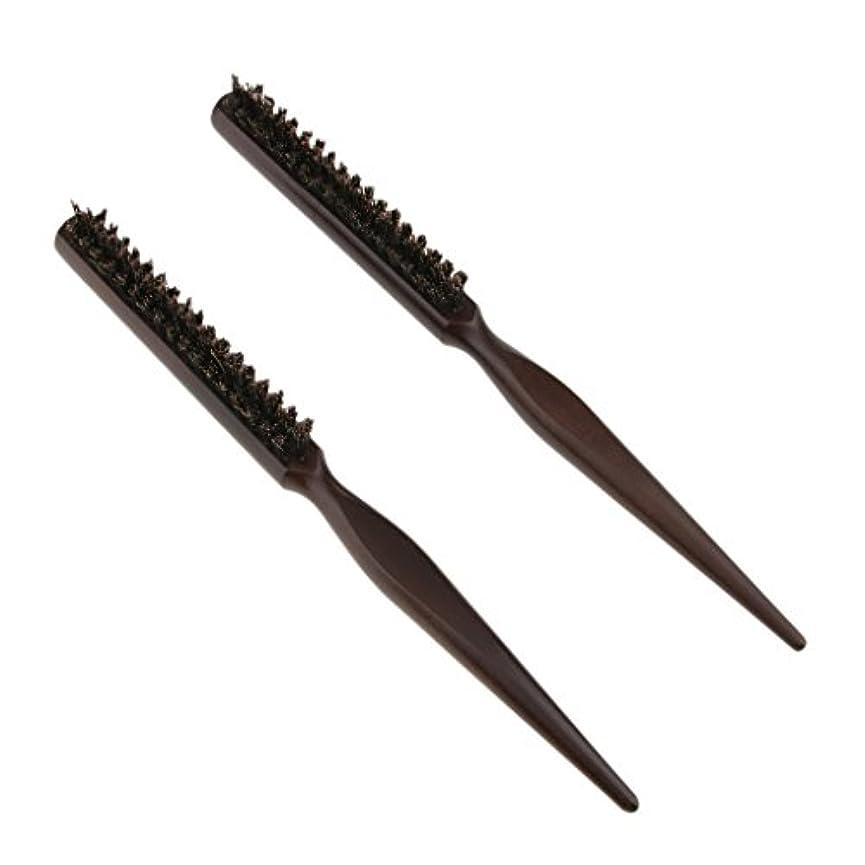 喪クラウン交換可能2本 ウッドブラシ 木製ハンドル ヘアブラシ ヘアコーム ボリューム シャイン