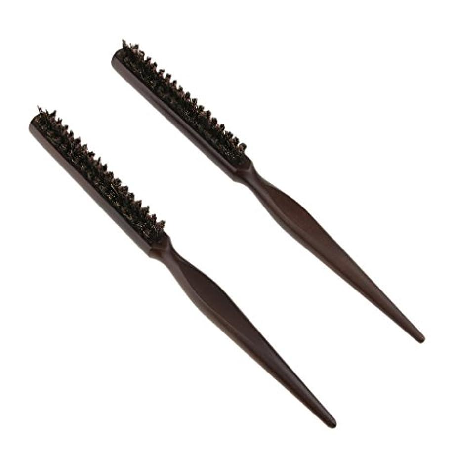 セミナー事実面倒2本3行木材自然の剛毛のおしゃぶりブラシの後ろのブラシのブラシ24センチメートル