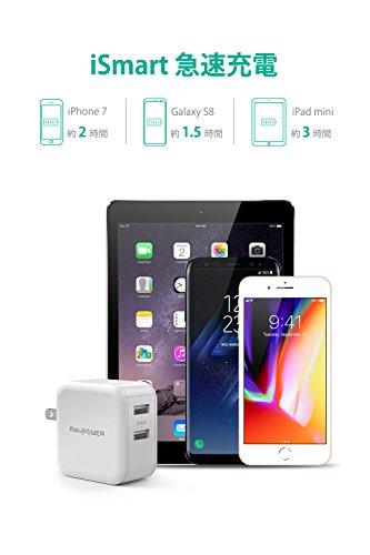 USB充電器 RAVPower 24W 2ポート acアダプタ 急速充電器 iPhone iPad Android モバイルバッテリー 等対応 (ホワイト)