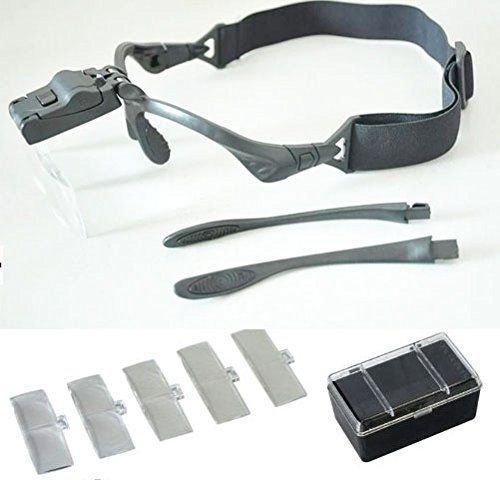 MFZ 拡大鏡 ルーペ メガネ タイプ 便利なLED ライト 付き 作業 工具 フィギア プラモデル 両手が自由になるハンドフリー セット k-mfi-500