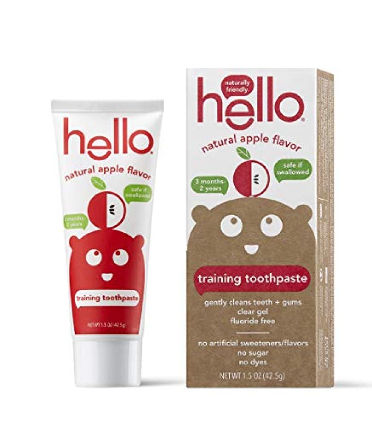 こする苦しめるカリングHello Oral Care フッ化物無料幼児教育の歯磨き粉、オーガニックアップル、1.5オンス