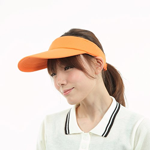 京都 おかげさまで シンプル ロング サンバイザー 無地 (オレンジ)
