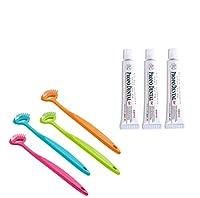口臭予防 舌クリーニングセット 歯磨き 舌磨き 舌クリーナー はみがき 歯磨きジェル (ゲルのミニ3本+舌クリーナー1本)